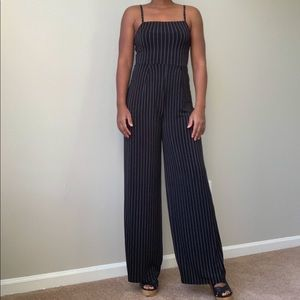 Black Jumpsuit with White Stripes
